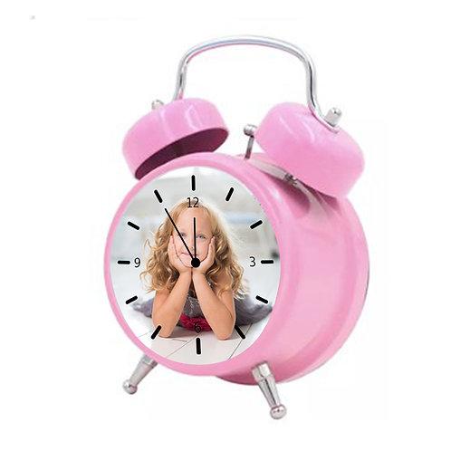 שעון מעורר בעיצוב אישי בצבע ורוד