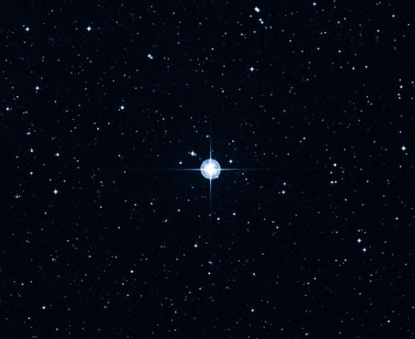 Imagem mostra uma representação da estrela no espaço, uma esfera brilhante envolta por outros pontos que também são estrelas.