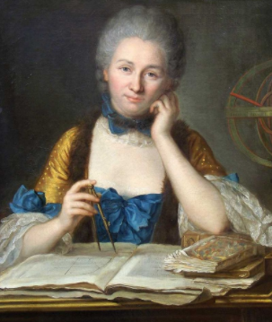 pintura mostra uma senhora de cabelos grisalhos, ela segura um compasso sobre várias folhas e apoia o queixo sobre a outra mão. Usa roupas de época, mostrando ser alguém da aristocracia.