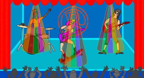 Desenho de uma banda de rock composta de três pessoas, no centro uma mulher de cabelo rosa com uma guitarra e um skate, a esquerda um baterista sem camisa e a direita outro guitarrista com camiseta regata e óculos escuros
