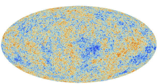 Um mapa de cores que mostra diferenças de temperatura na radiação de fundo