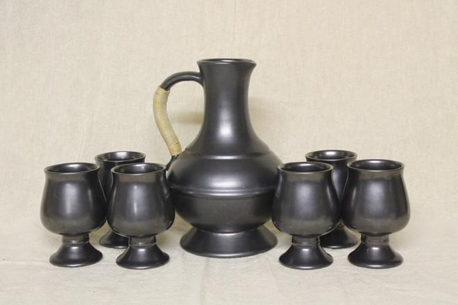 Prinknash Pottery Wine Goblet and Carafe Set - $120