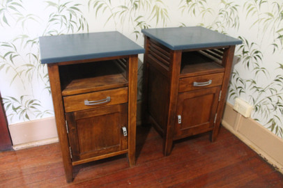SOLD - Blue Topped Bedside Tables