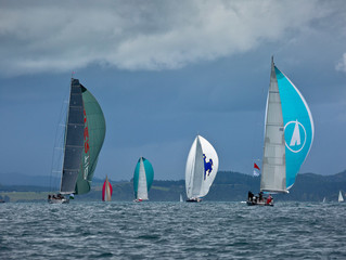 Janice of Wyoming storms across the line on Orams Marine Race Day, the first day of the NZ Millenniu