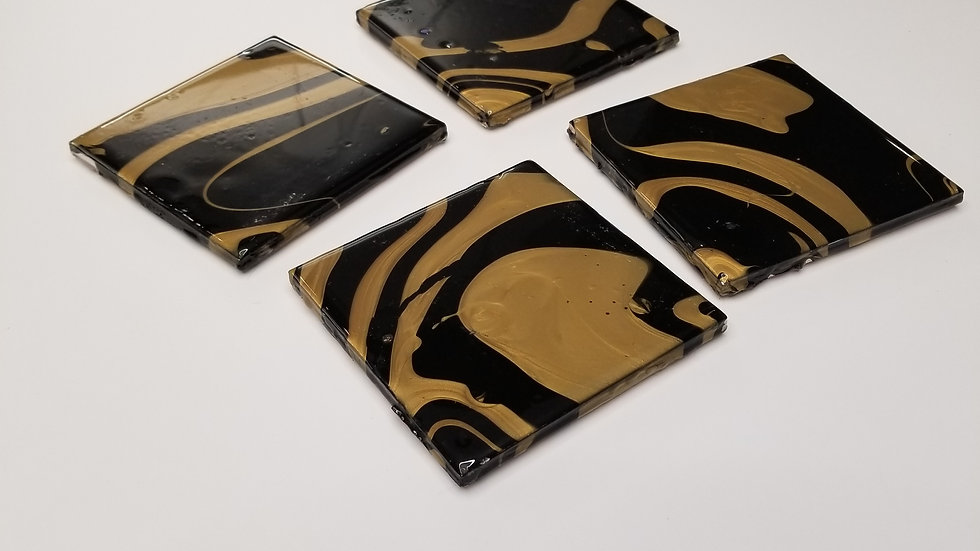 Gold and Black Coaster