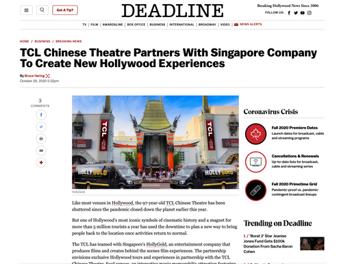 "Deadline: ""TCL Chinese Theatre Partners With Singapore Company To Create New Hollywood Experiences"""