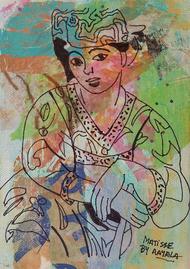 Matisse by Ayala - Two Size: 5 x 7 Mixed media collage on canvas - unframed