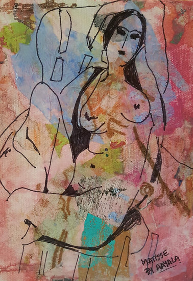 Matisse by Ayala - OneSize: 5 x 7 Mixed media collage on canvas - unframed