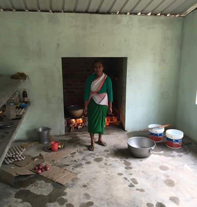 Bhabeshwari our cook and new kitchen