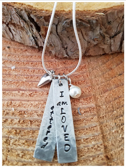 """I AM LOVED Hand Stamped Necklace 18"""""""