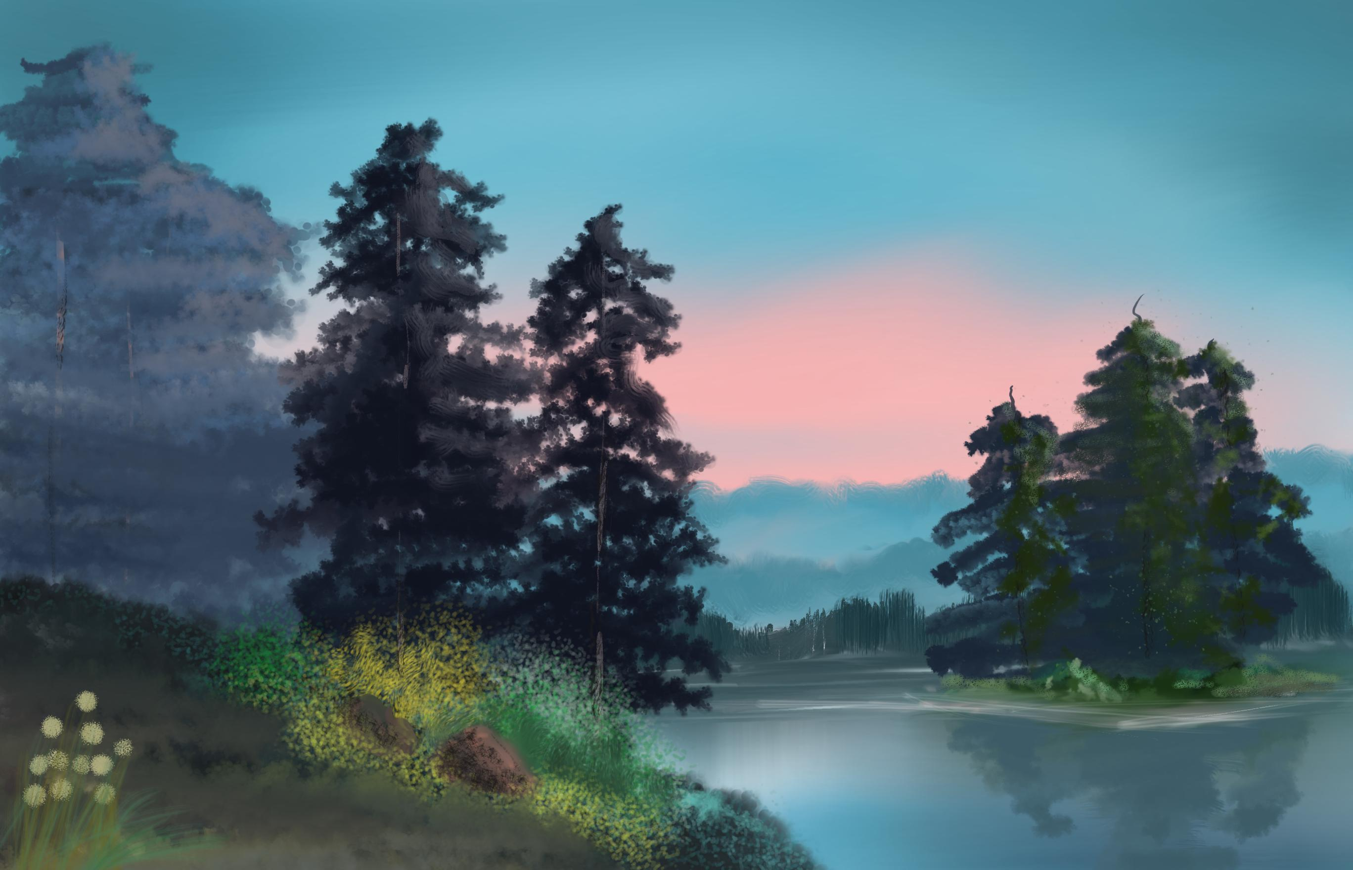 following bob ross' tutorial