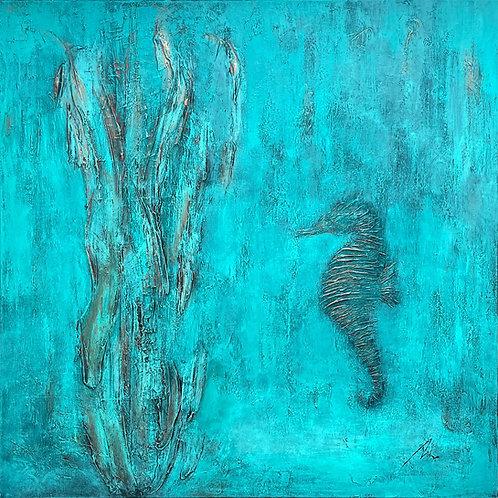 Golden Seahorse - Marine Art (80x80cm, Textured)