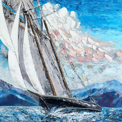 Schooner Columbia | Large Ship Art | Contemporary Wall Art