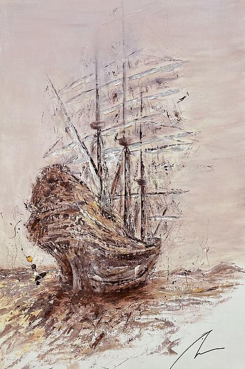 Sailing Away - Abstract Art 'Tall Sailing Ships' | Large Canvas | Modern Art