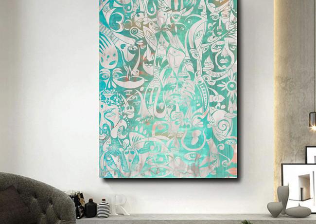 The Patience - Ancient India mythology - Large canvas painting by Koorosh Nejad