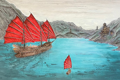 Three Red Junk Ship - Abstract Art 'Tall Sailing Ships' | Contemporary Art