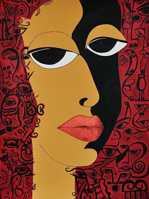 The Eyes - Abstract Art in African Theme | Original Cubism Painting on Canvas