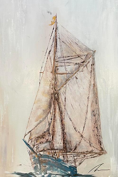 Blue Sailing Boat - Abstract Art 'Tall Sailing Ships'   Large Canvas