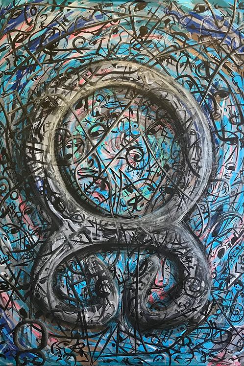 Trolls Cross - Abstract Art in Celtic Theme | Print on Canvas 70x100cm