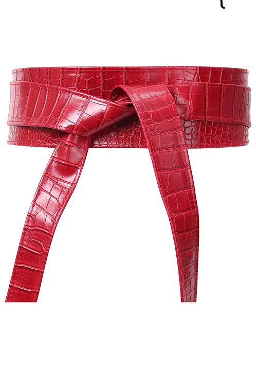 Red Crocodile Belt