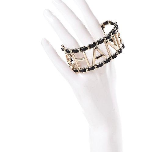 Logo Cuff Bracelet Black Gold