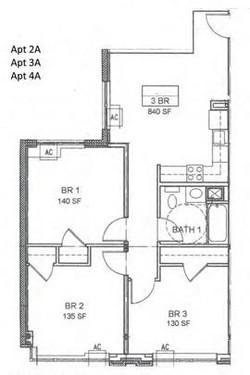 Apartment 2A, 3A & 4A