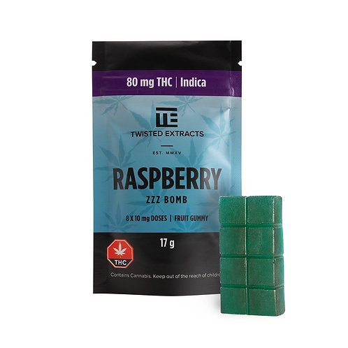 THC Jelly Bomb (Raspberry) – Twisted Extracts – 80mg THC (Indica)
