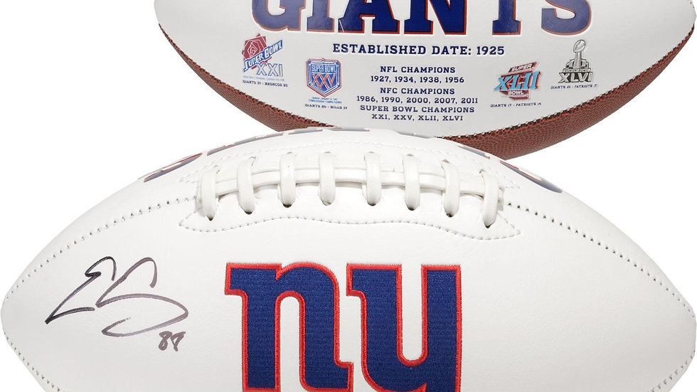 Evan Engram autographed Giants white panel football