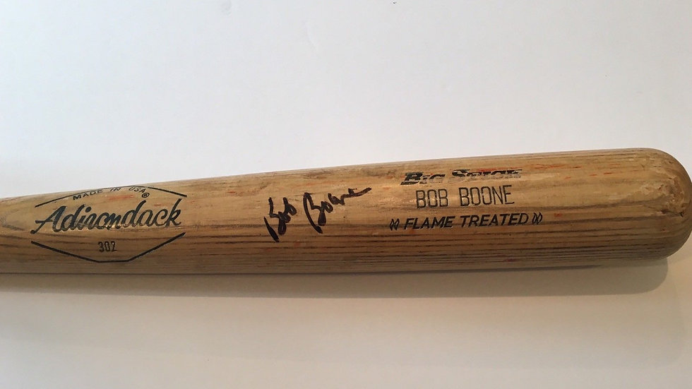 Bob Boone game used autographed Phillies bat