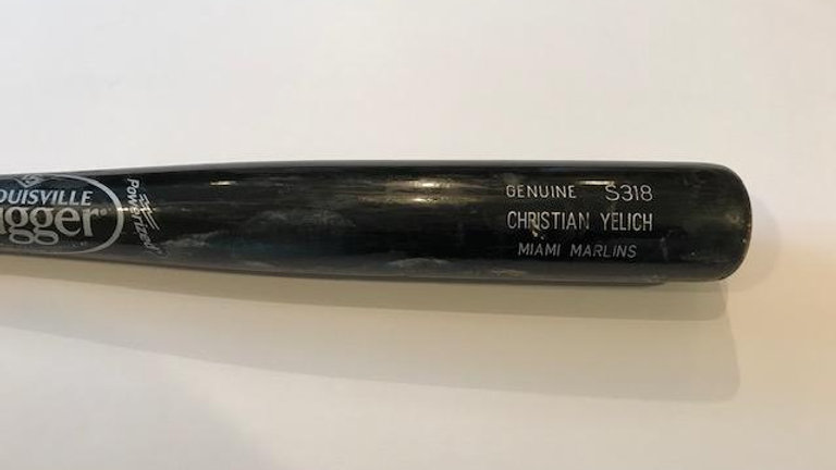 Christian Yelich Game Used Uncracked Bat