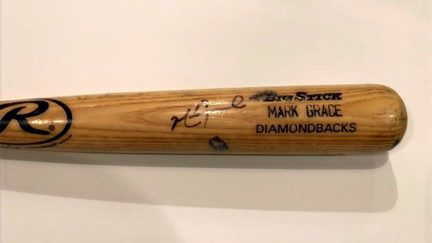 Mark Grace Autographed Game Used bat graded 9.5