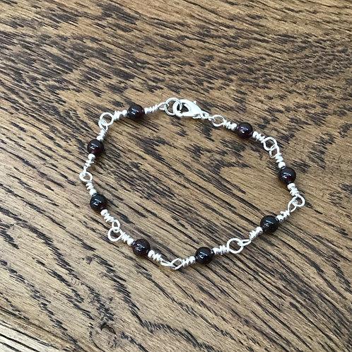 Garnet & Stirling Silver Bracelet