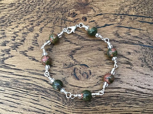 Unakite & Stirling Silver Bracelet