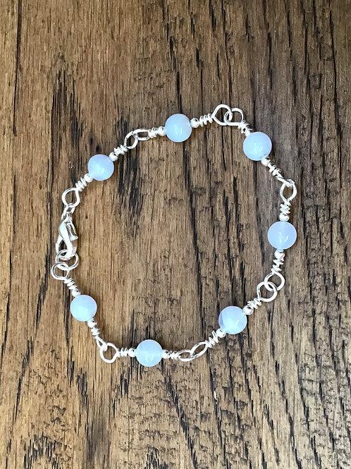 Blue Lace Agate & Stirling Silver Bracelet