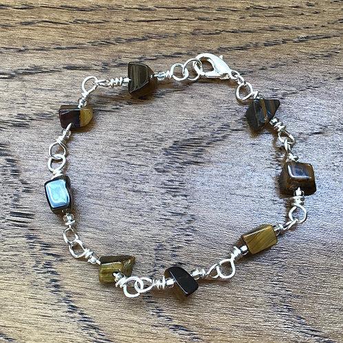 Tiger Eye & Stirling Silver Bracelet