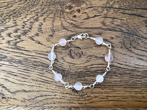 Rose Quartz & Stirling Silver Bracelet