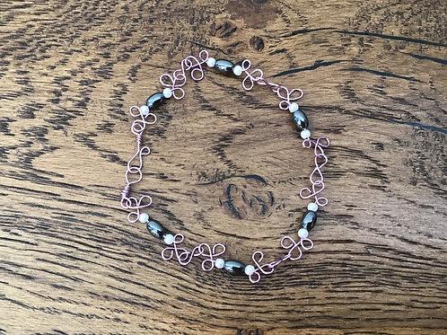 Hematite & Purple Wire Bracelet