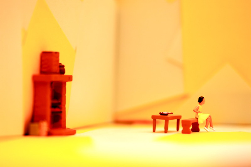 Toy House with a Woman