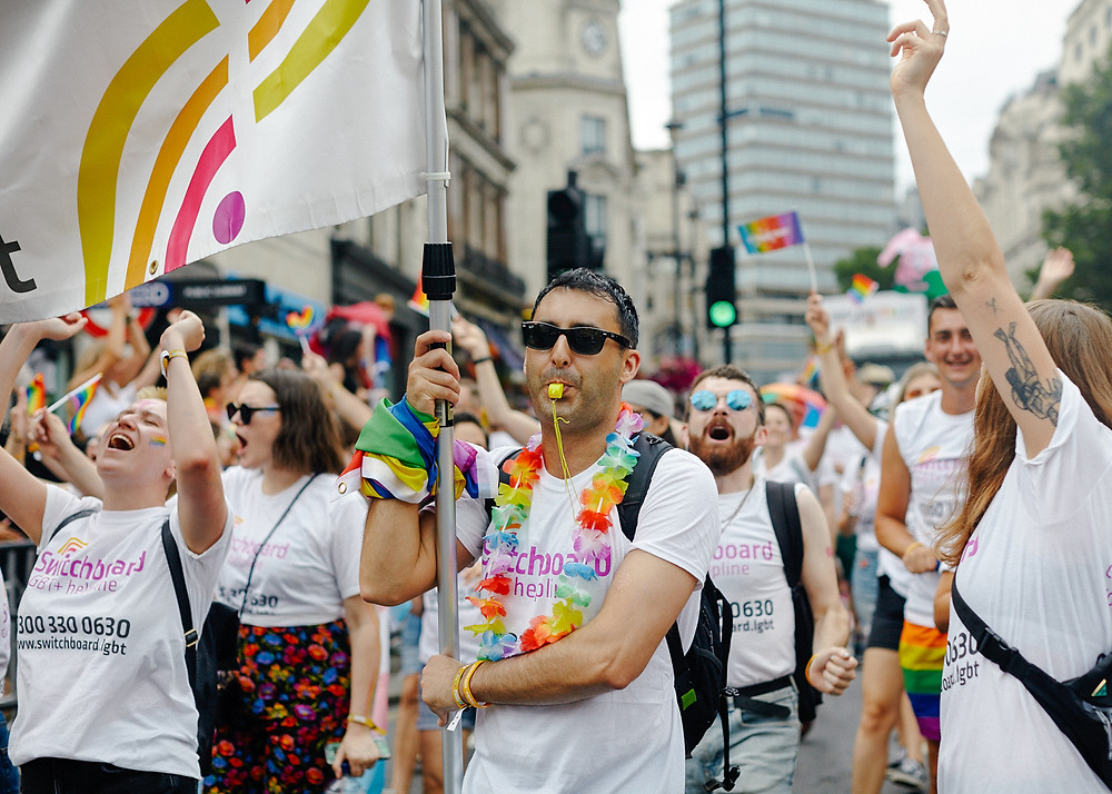 Photo of people celebrating Pride with Switchboard