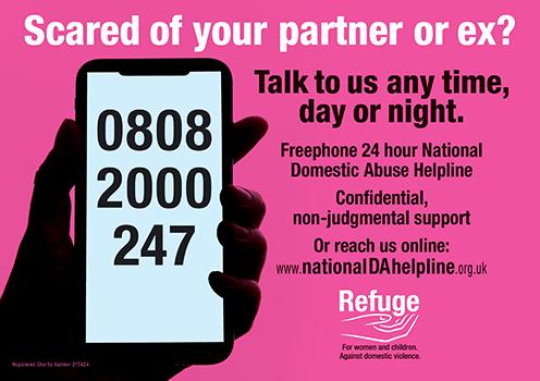 Refuge's helpline poster