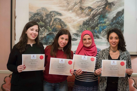 4 BLA scholarship students with their certificates