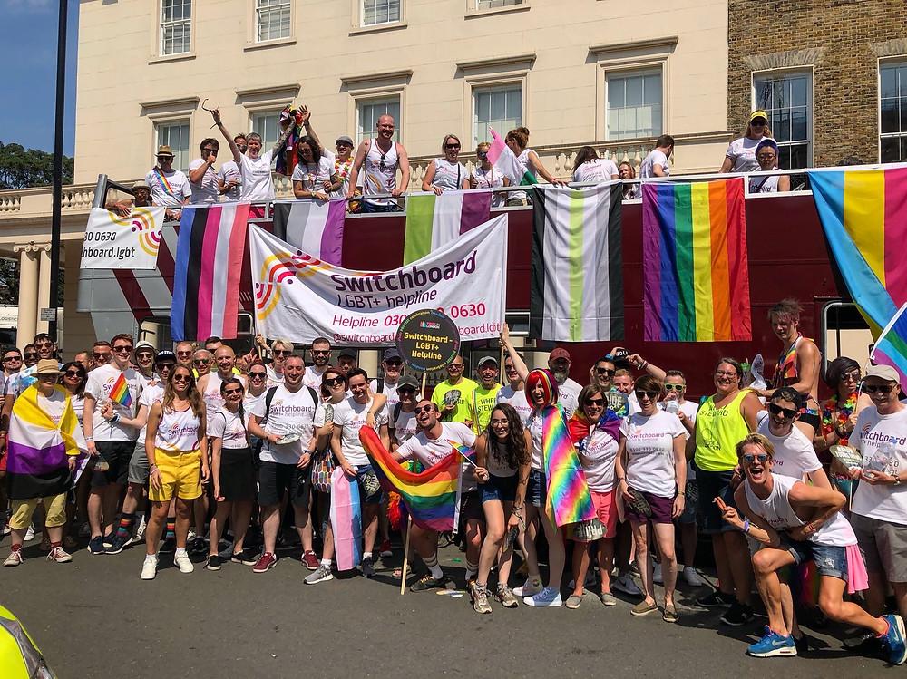 Photo of Switchboard celebrating pride in 2018