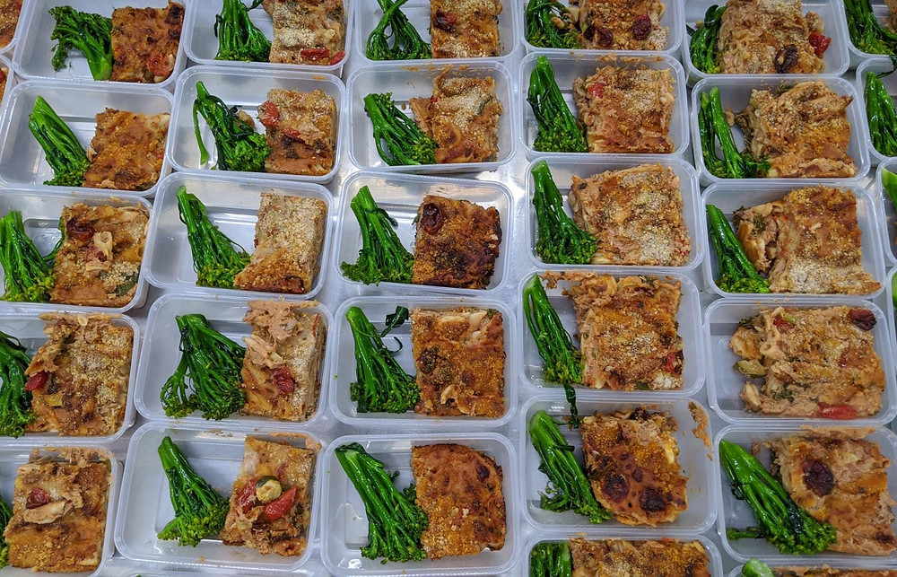 Rows of meals in food containers