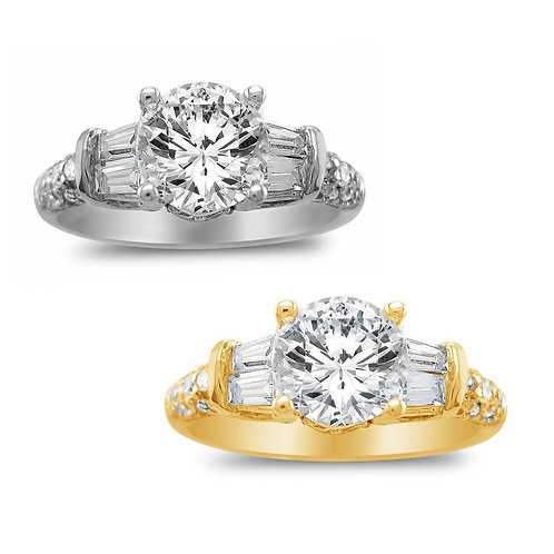 14k Yellow or White Gold 1 3/8ct TGW Round-cut Diamonette Engagement Ring