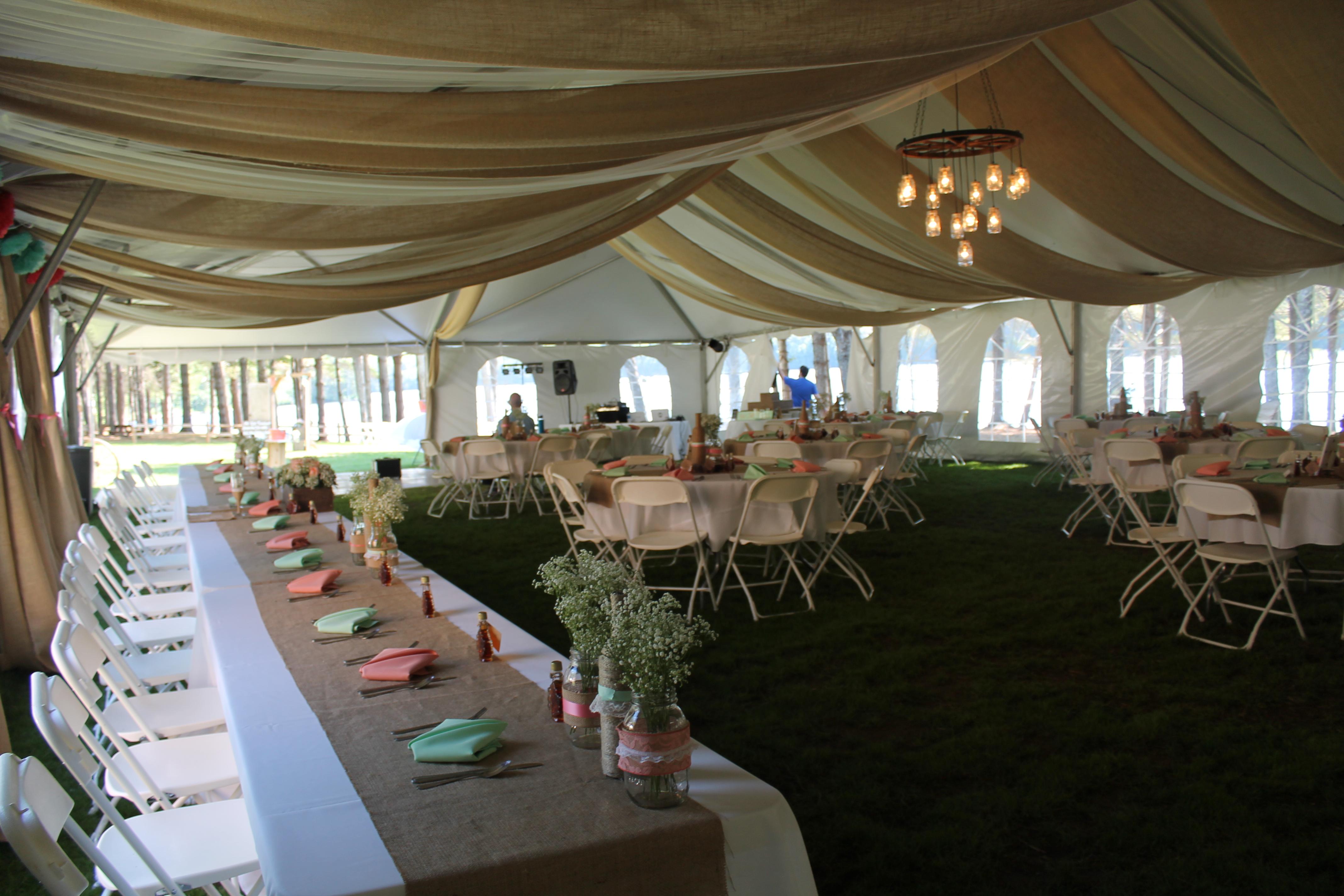Custom Tent Drapery and Lighting