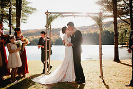 Maine Lakeside Wedding sealed with a kiss