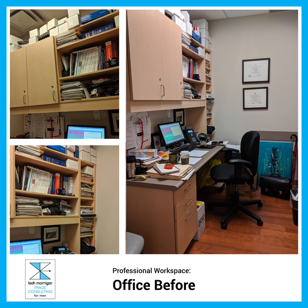 Dr. D's office was cluttered and cramped, affecting his mood, concentration, and patient's impressions. Leah decluttered, reorganized, and breathed new life into the doctor's workspace.