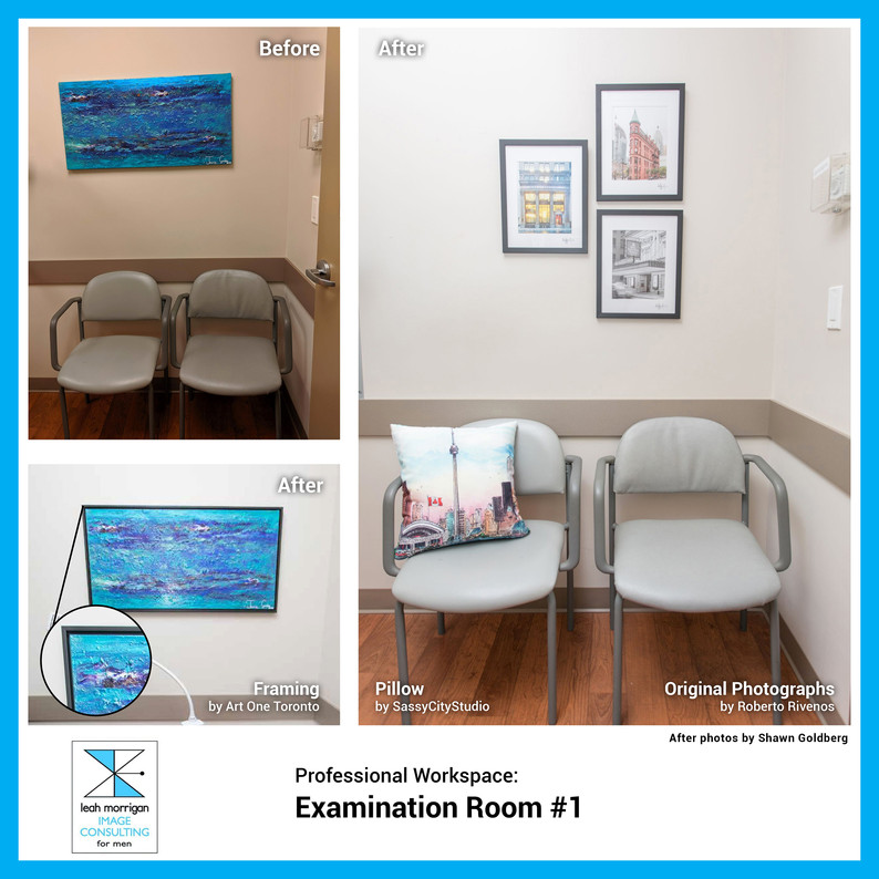 This medical examination room was cold and uninteresting. Adding well-framed photos gives visual interest, and an accent pillow provides comfort to patients.
