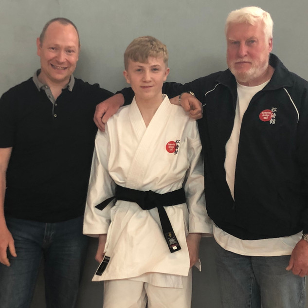 Angus with club instructors after successful 1st Dan Grading
