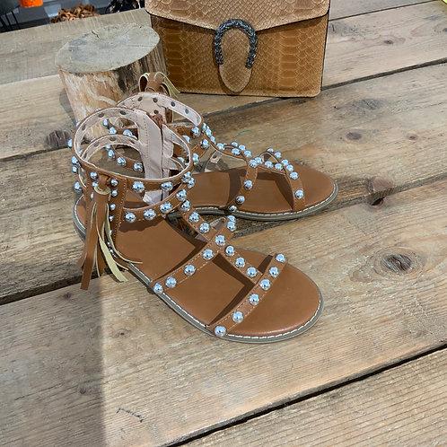 Sandali borchie con cerniera